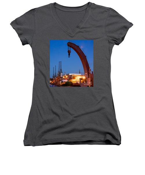 Cranes, Bristol Harbour Women's V-Neck
