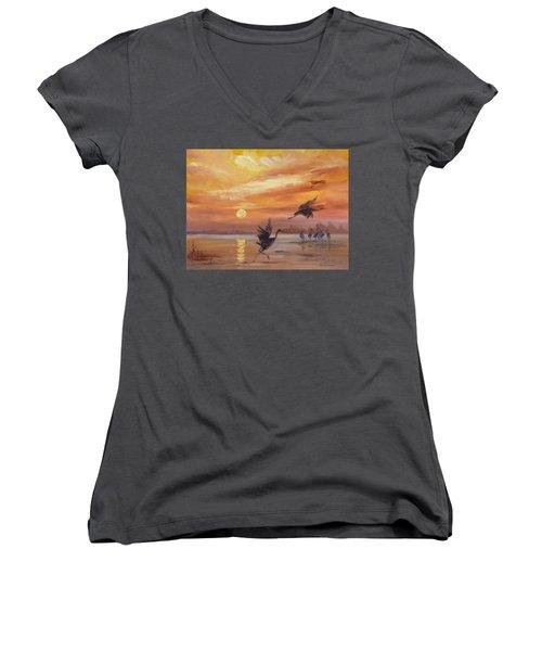 Cranes - Golden Sunset Women's V-Neck T-Shirt (Junior Cut) by Irek Szelag