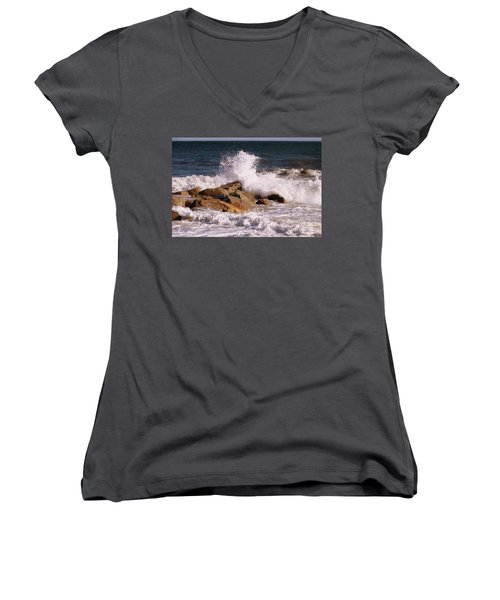 Women's V-Neck T-Shirt (Junior Cut) featuring the photograph Crashing Surf On Plum Island by Eunice Miller