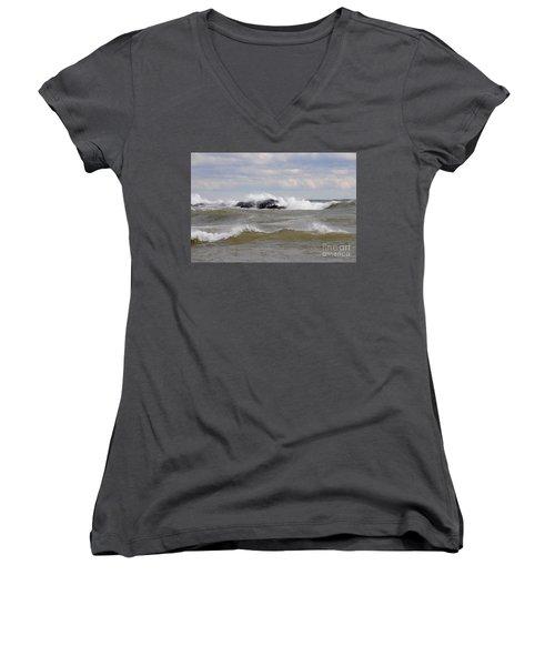 Crashing The Reef Women's V-Neck T-Shirt (Junior Cut) by Sandra Updyke
