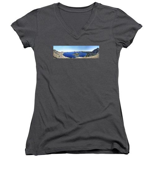 Crater Lake Panoramic Women's V-Neck T-Shirt