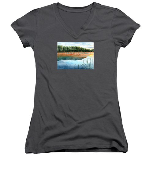 Crawford Lake Morning Women's V-Neck T-Shirt (Junior Cut) by LeAnne Sowa