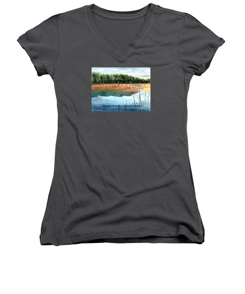 Women's V-Neck T-Shirt (Junior Cut) featuring the painting Crawford Lake Nature Estates by LeAnne Sowa