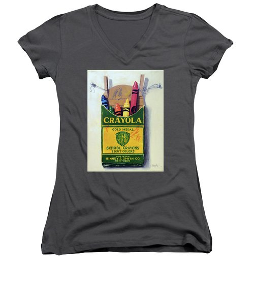 Women's V-Neck T-Shirt (Junior Cut) featuring the painting Crayola Crayons Painting by Linda Apple