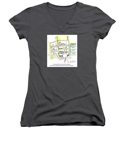 Crazy Cat Lady 0003 Women's V-Neck T-Shirt (Junior Cut) by Lou Belcher