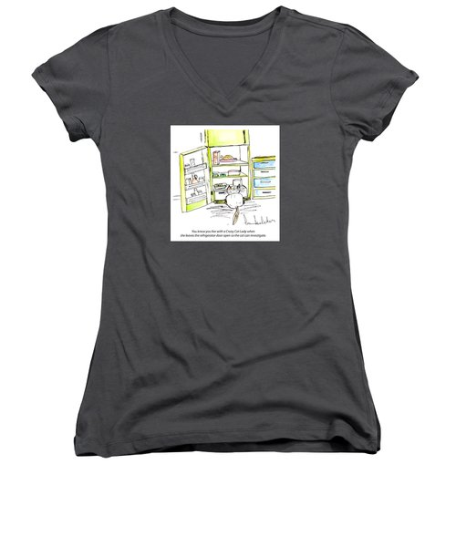 Crazy Cat Lady 0003 Women's V-Neck (Athletic Fit)