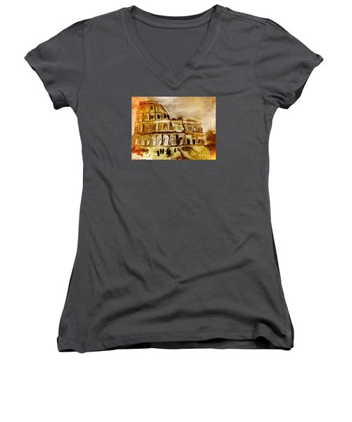 Women's V-Neck T-Shirt (Junior Cut) featuring the painting Crazy Colosseum by Denise Tomasura