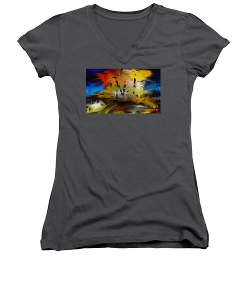 Crazy Nature Women's V-Neck T-Shirt (Junior Cut) by Rushan Ruzaick