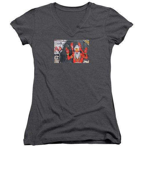 Crazy Yogi, Rishikesh Women's V-Neck T-Shirt