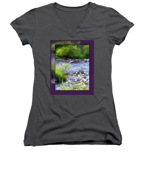 Women's V-Neck T-Shirt (Junior Cut) featuring the photograph Creek Daisys by Susan Kinney