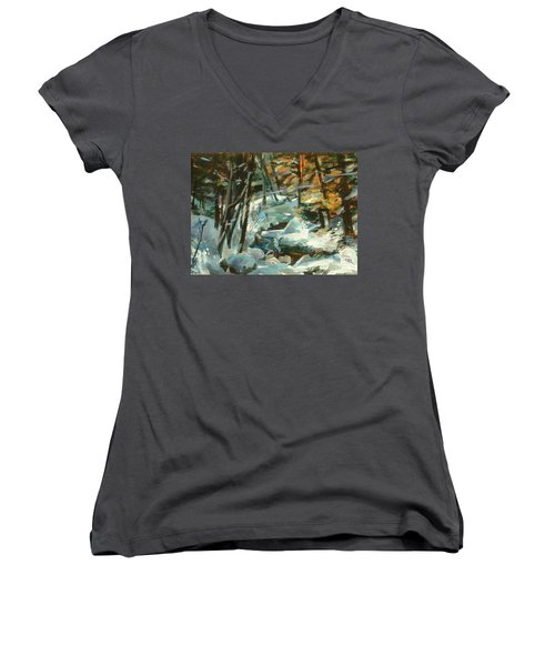 Creek In The Cold Women's V-Neck (Athletic Fit)