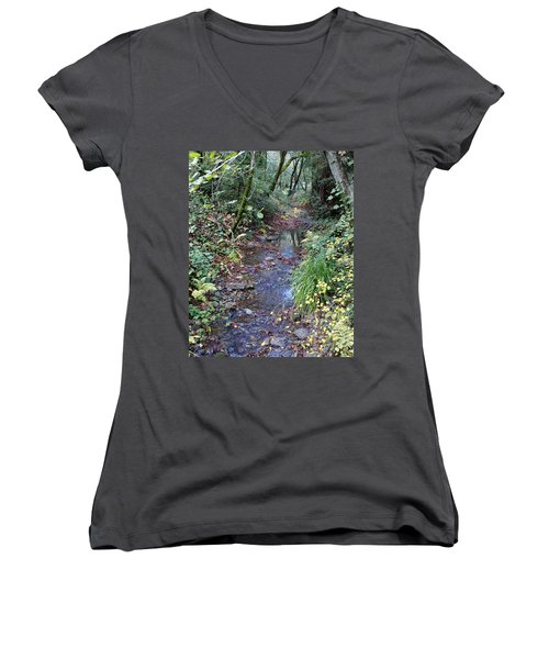 Creek On Mt Tamalpais 2 Women's V-Neck
