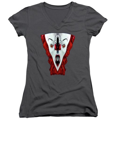 Creepy Clown 01215 Women's V-Neck (Athletic Fit)