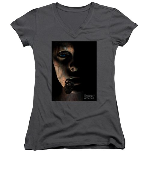 Women's V-Neck T-Shirt (Junior Cut) featuring the photograph Creepy by Trena Mara