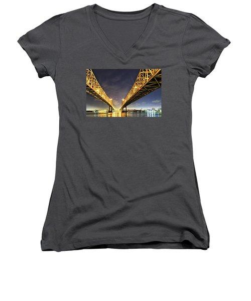 Crescent City Bridge In New Orleans Women's V-Neck