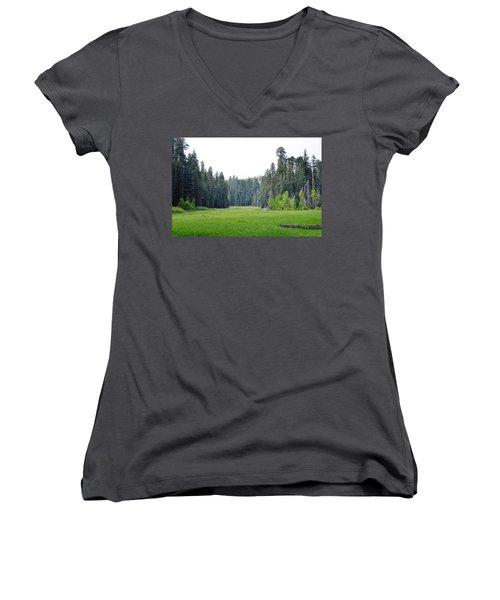 Women's V-Neck T-Shirt (Junior Cut) featuring the photograph Crescent Meadow by Kyle Hanson