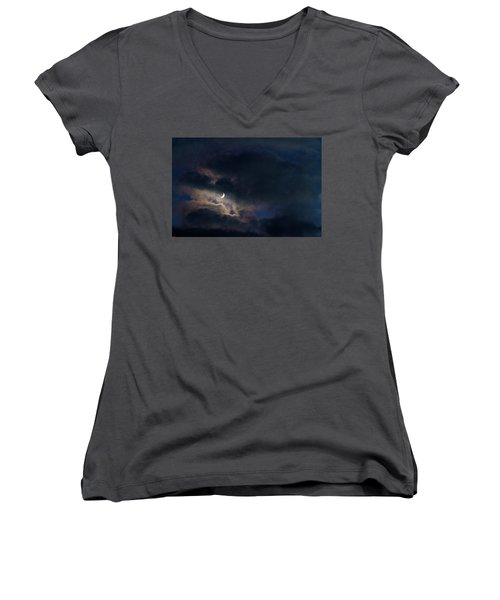 Crescent Moon In Hocking Hilla Women's V-Neck T-Shirt (Junior Cut) by Haren Images- Kriss Haren