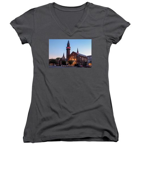 Crescent Moon Over Old Town Hall Women's V-Neck