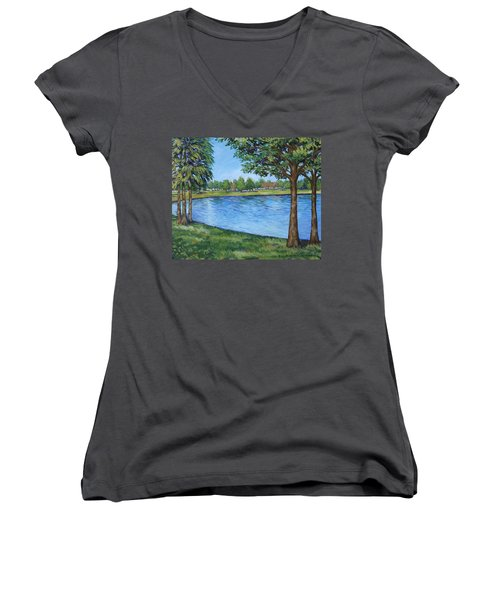 Crest Lake Park Women's V-Neck T-Shirt (Junior Cut) by Penny Birch-Williams