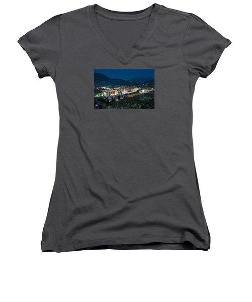 Crested Butte Village Under Full Moon Women's V-Neck T-Shirt (Junior Cut) by Michael J Bauer