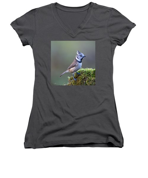 Crested Tit Women's V-Neck T-Shirt