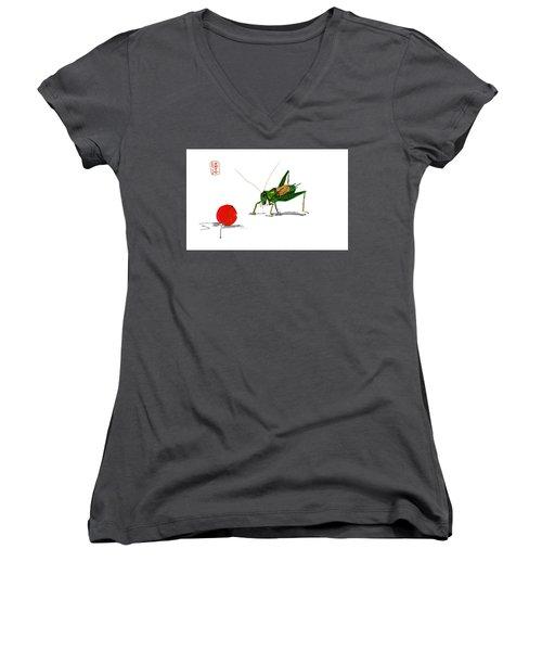 Cricket  Joy With Cherry Women's V-Neck T-Shirt (Junior Cut) by Debbi Saccomanno Chan