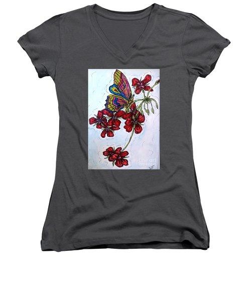 Crimson Fancy Women's V-Neck T-Shirt (Junior Cut) by Kim Jones