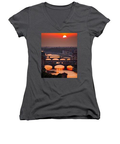 Crimson River Women's V-Neck T-Shirt (Junior Cut) by Giuseppe Torre