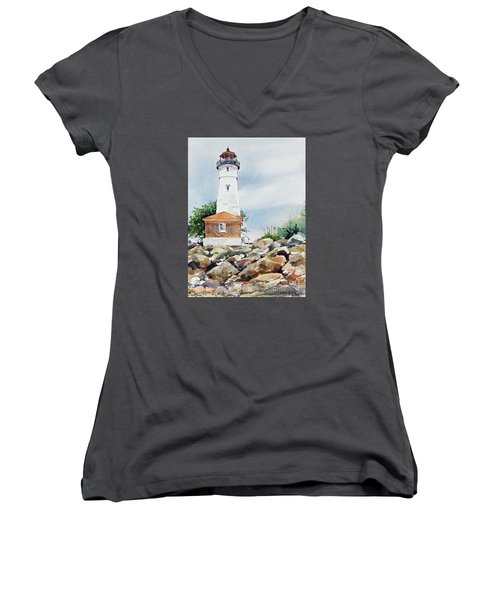 Crisp Lighthouse Women's V-Neck (Athletic Fit)
