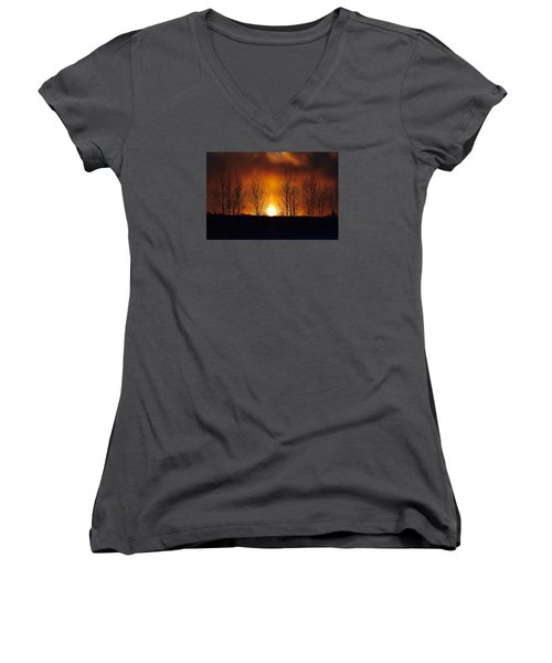 Women's V-Neck T-Shirt (Junior Cut) featuring the photograph Crisp Sunset by Dacia Doroff