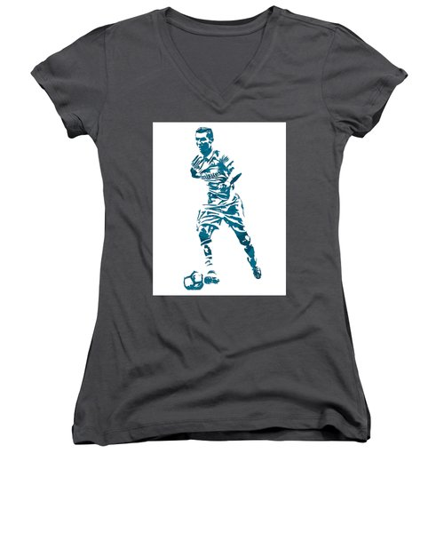 Cristiano Ronaldo Real Madrid Pixel Art 3 Women's V-Neck T-Shirt
