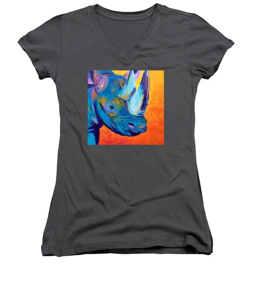 Critically Endangered Black Rhino Women's V-Neck (Athletic Fit)