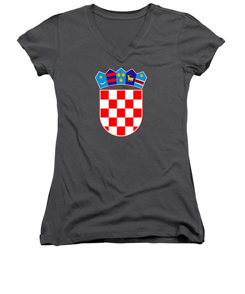 Women's V-Neck T-Shirt (Junior Cut) featuring the drawing Croatia Coat Of Arms by Movie Poster Prints