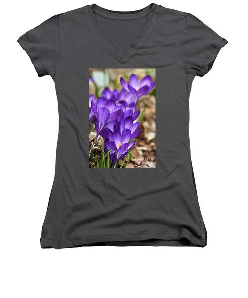 Women's V-Neck T-Shirt (Junior Cut) featuring the photograph Crocuses by Larry Ricker