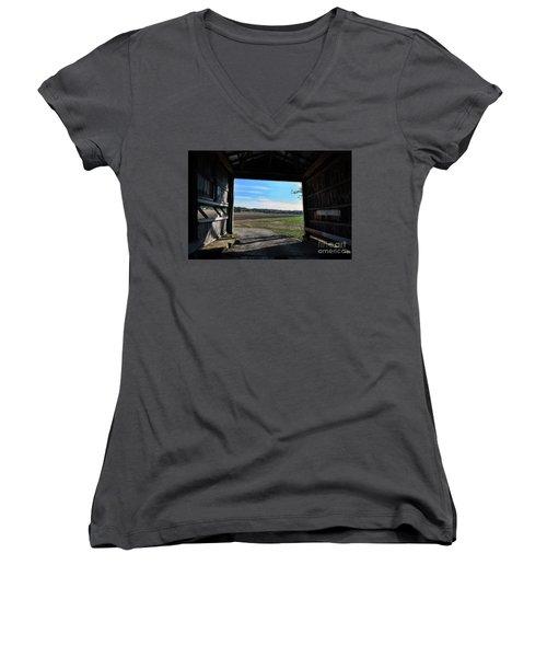 Crooks Bridge Women's V-Neck T-Shirt (Junior Cut) by Joanne Coyle