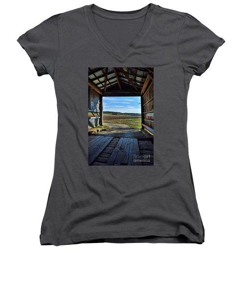 Crooks Covered Bridge 2 Women's V-Neck T-Shirt (Junior Cut) by Joanne Coyle