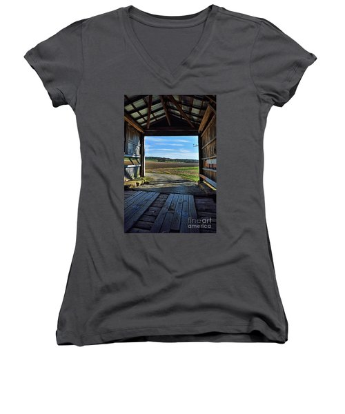 Crooks Covered Bridge 2 Women's V-Neck T-Shirt