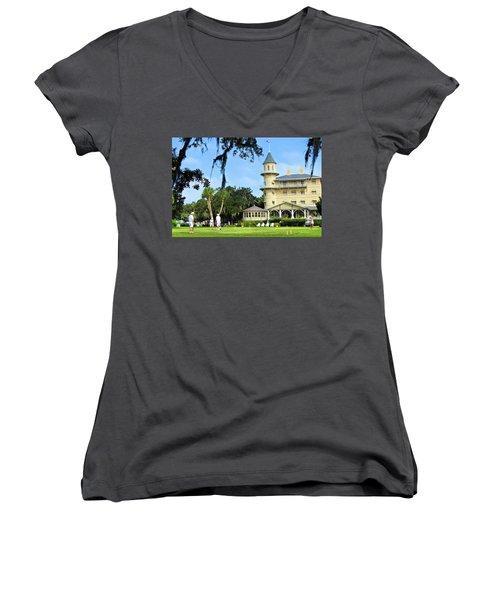 Croquet Anyone? Women's V-Neck T-Shirt (Junior Cut) by Laura Ragland