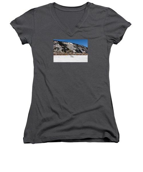 Cross-county Skiers Outside Aspen Women's V-Neck T-Shirt