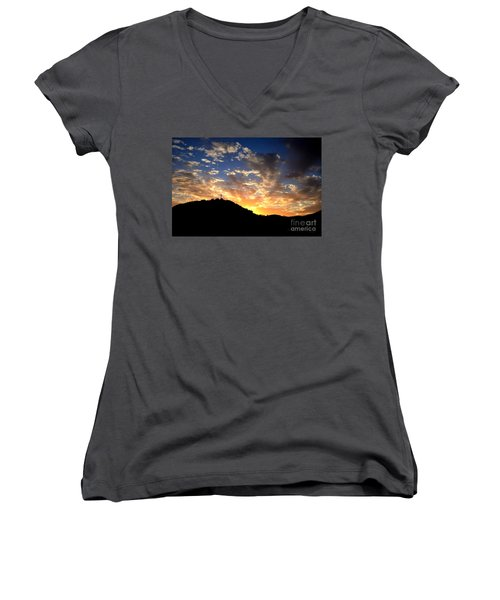 Cross On A Hill Women's V-Neck T-Shirt (Junior Cut) by Sharon Soberon