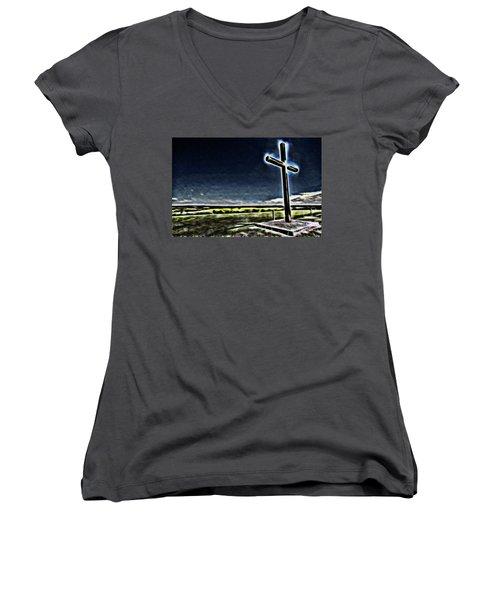 Cross On The Hill Women's V-Neck T-Shirt (Junior Cut) by Douglas Barnard
