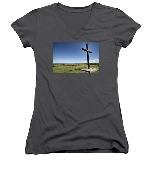 Women's V-Neck T-Shirt (Junior Cut) featuring the photograph Cross On The Hill V3 by Douglas Barnard