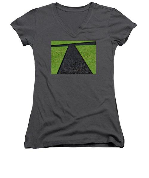 Cross Roads Women's V-Neck T-Shirt (Junior Cut) by Paul Wear
