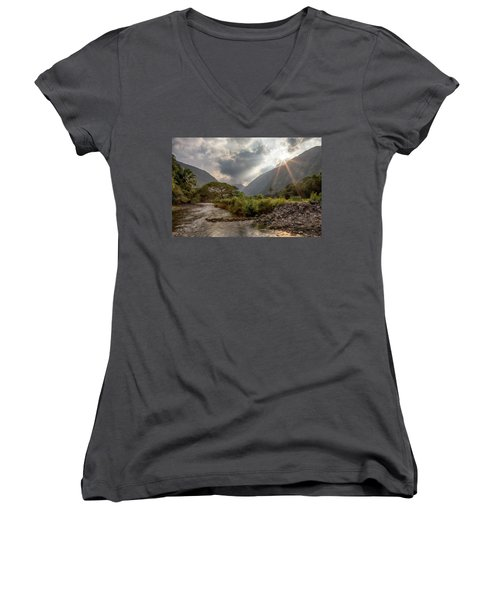 Crossing Hiilawe Stream Women's V-Neck