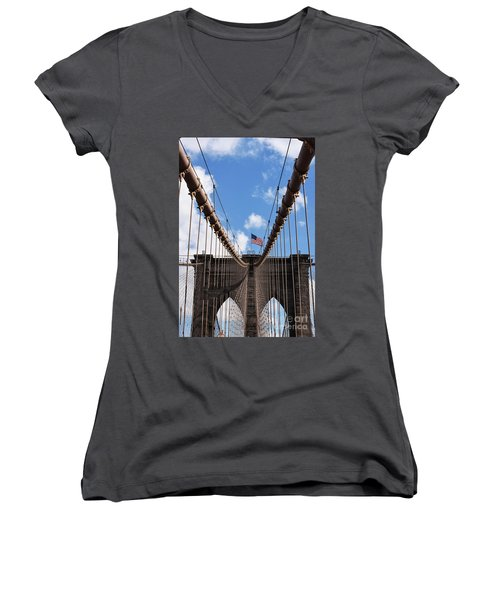 Women's V-Neck T-Shirt (Junior Cut) featuring the photograph Crossing The Brooklyn Bridge by Judy Wolinsky