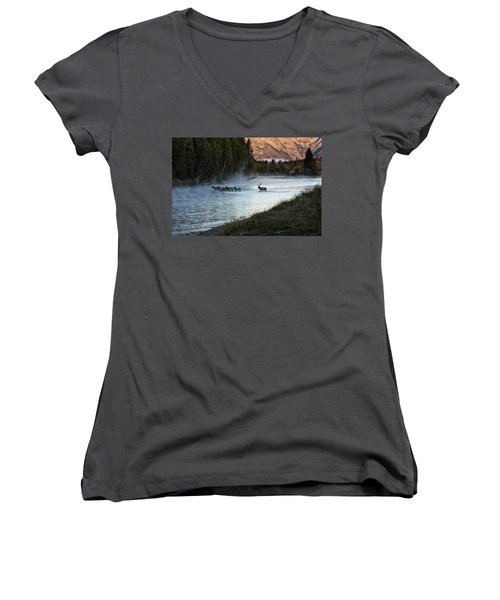 Women's V-Neck featuring the photograph Crossing The River by Scott Read