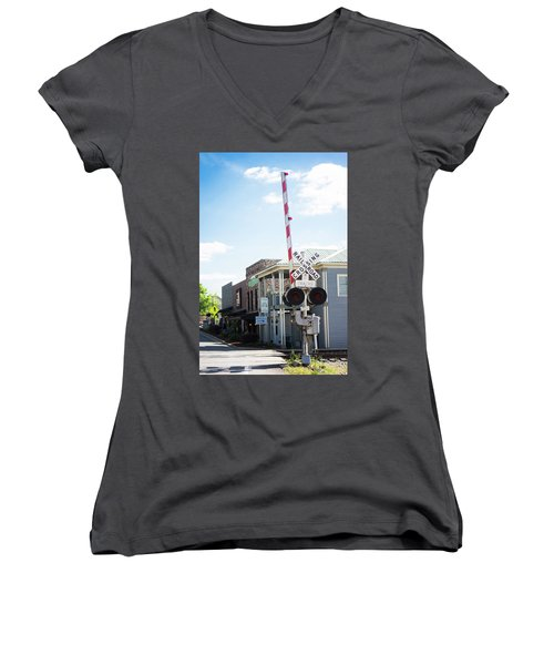 Women's V-Neck T-Shirt (Junior Cut) featuring the photograph Crossings In Old Town Helena by Parker Cunningham