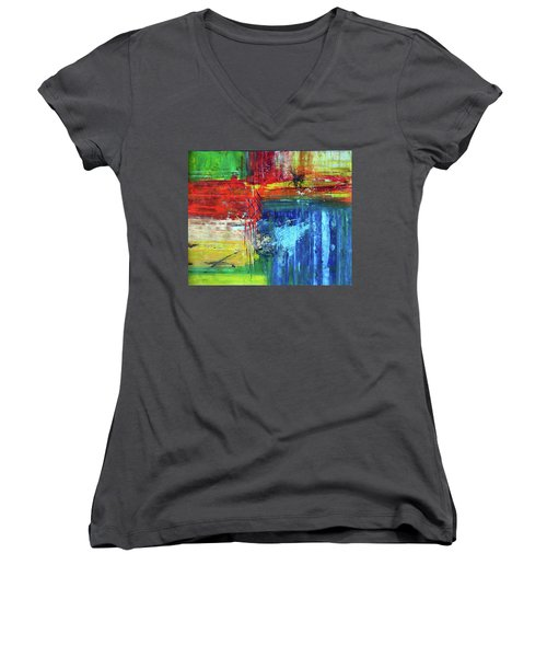 Women's V-Neck T-Shirt (Junior Cut) featuring the painting Crossroads by Everette McMahan jr