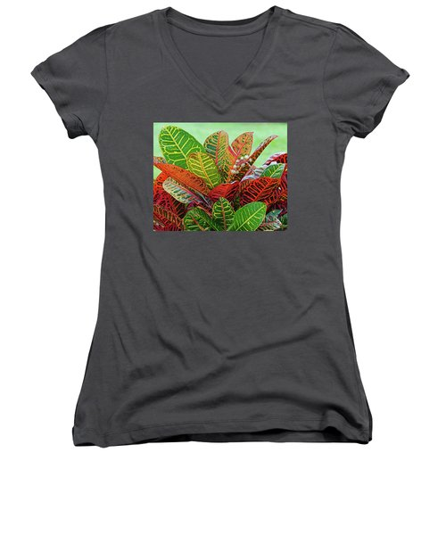 Colorful Croton Bloom Women's V-Neck T-Shirt