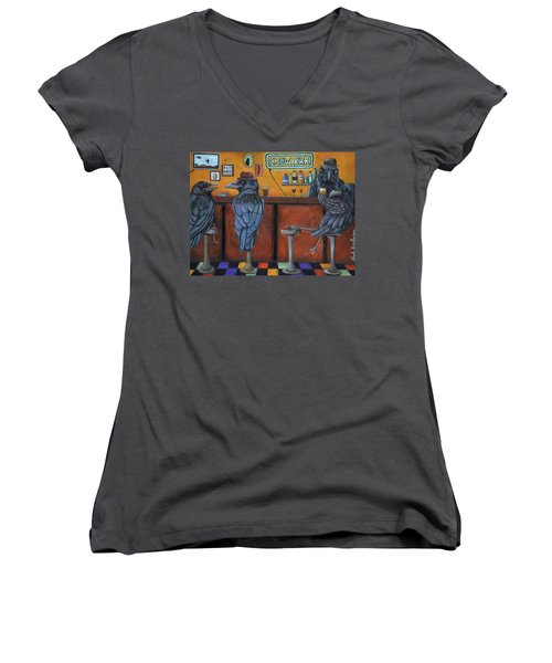 Women's V-Neck T-Shirt (Junior Cut) featuring the painting Crow Bar by Leah Saulnier The Painting Maniac